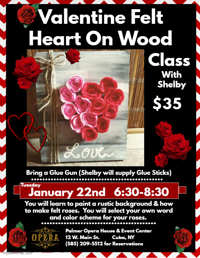 Valentine Felt Heart On Wood Class at the Palmer - Discover